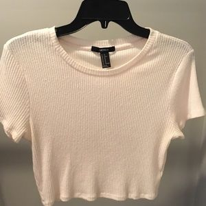 Forever 21 cropped ribbed textured pale pink top